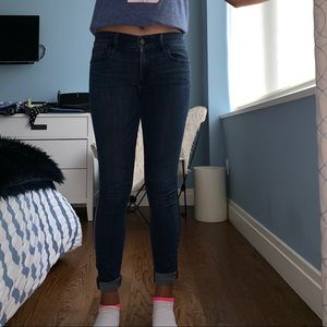 Skinny Denim jeans with leather strip down side